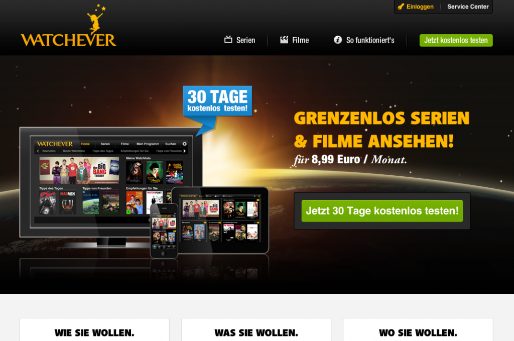 Die Website von Watchever