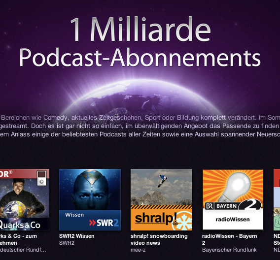 1 Milliarde Podcast-Abonnements bei iTunes